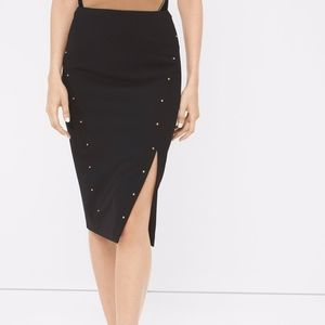 WHBM Black Gold Studded Pencil Skirt